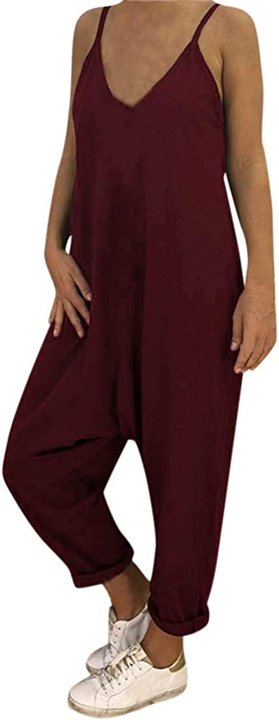 Toimothcn Womens Spaghetti Strap Jumpsuit Casual Loose Long Pant Trousers Playsuit Rompers Plus Size