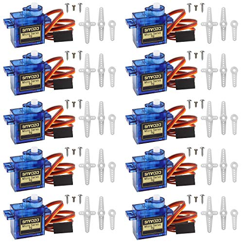 (Smraza 10 Pcs SG90 9G Micro Servo Motor Kit for RC Robot Arm Helicopter Airplane Car Boat Control, Arduino Project)