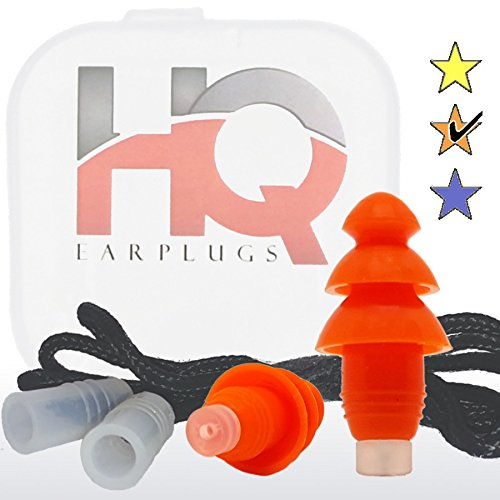 Soft Silicone Ear Plugs with Filter- Noise Cancelling & Hearing Protection By HQ Earplugs - NRR 25 to 29db – Water Block Ends – One Size Fits All (Orange)