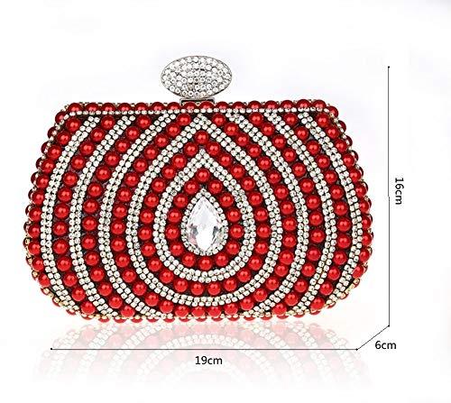 Pochette Perles Femme 7x6inch soirée Strass Brille à de Luxe Diamants C Sacs Sac Main 19x16cm Classique de soirée Mini Incrusté de C pour xzUXS