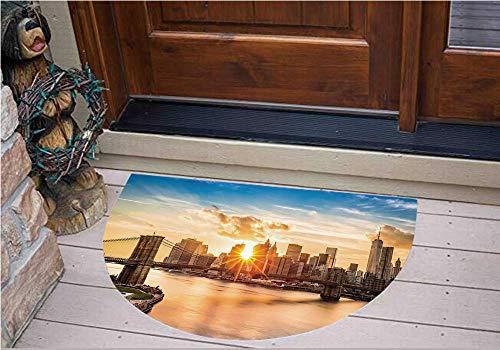 3D Semicircle Floor Stickers Personalized Floor Wall Sticker Decals,Bridge and Lower Manhattan Hudson River Center,Kitchen Bathroom Tile Sticker Living Room Bedroom Kids Room Decor Art Mural D27.5
