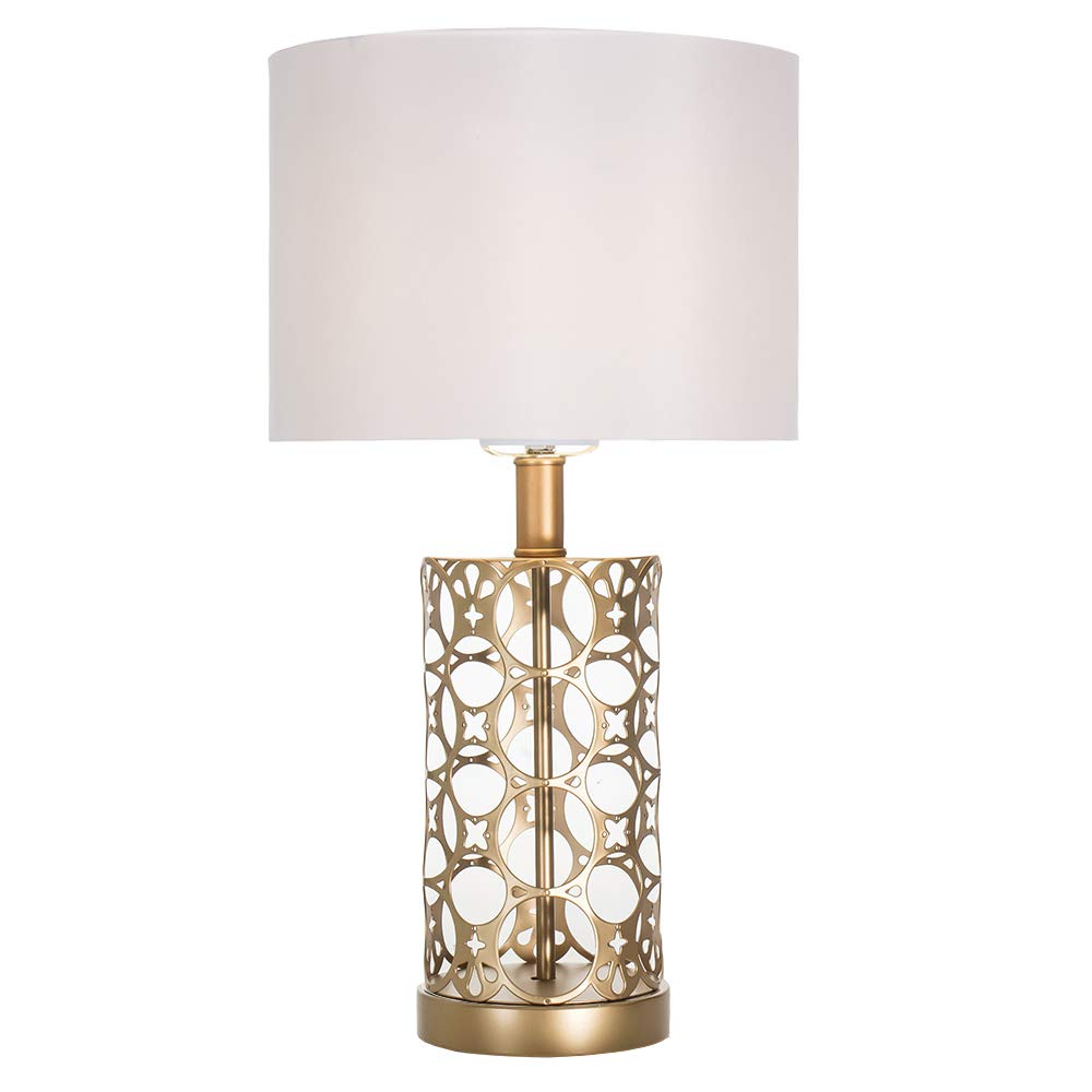 Cotulin Golden Base Silver Shade Bedroom Living Room Study Coffee Table Lamp, Bedside Table Lamp with Simple Designs