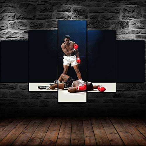 JESC Wall Art for Men Bedroom Muhammad Ali Boxing KO Living Room Wall Decor Canvas Painting Kids Room Canvas Print Picture One Set 5 Panels Wall Poster Artworks Modern Home Decoration ()