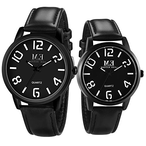 - Menton Ezil Romantic Couple Watches Fashion Casual Quartz Wrist Watch Waterproof, Classic Design, His and Hers Gifts Affectionate, Set of 2