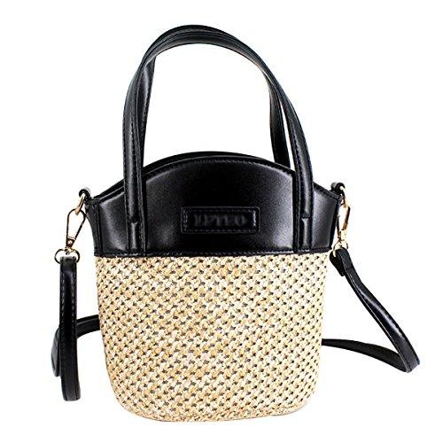 Woven Black Girls Handbag Mily Bag Tote Straw Hobo Shoulder fE11FqwHx