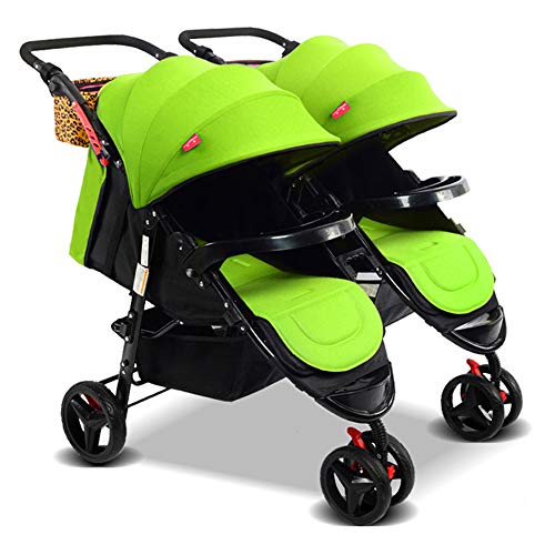 Double Baby Stroller Detachable Twin Tandem Bassinet Pram Carriage Stroller Adjustable Sit and Stand Four Seasons Universal (Green)