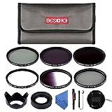 Beschoi 52mm UV Protection Lens Filters Kit (UV + CPL + ND2 + ND4 + ND8, Graduated Color Gray) Slim Lens Filter Set for DSLR Camera