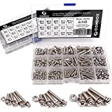 Comdox 360-Pack 12 Sizes Phillips Pan Head Machine Screws Bolts Nuts Lock Flat Washers Assortment Kit, Carbon Steel, M3…