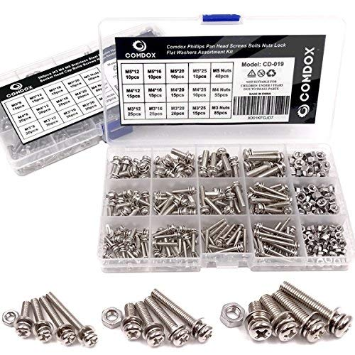 Comdox 360-Pack 12 Sizes Phillips Pan Head Machine Screws Bolts Nuts Lock Flat Washers Assortment Kit, Carbon Steel, M3 M4 M5