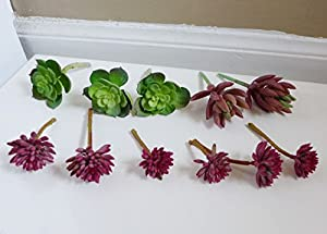 Set Of 11 Mini Lotus Artificial Plants Desert Succulents Grasses For Living  Room Home Decor Indoor Outdoor Office Garden Landscape (No Vase Included) Part 38