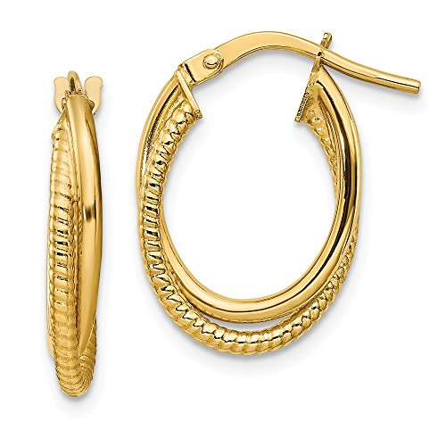 FB Jewels Solid 14K Yellow Gold Polished Textured Double Hoops