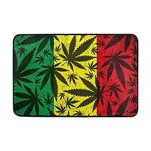 lorvies de hoja de marihuana en Grunge bandera rastafari Felpudo, forma de puerta de interior al aire libre alfombra de entrada con base antideslizante., (23.6por 15.7-inch)