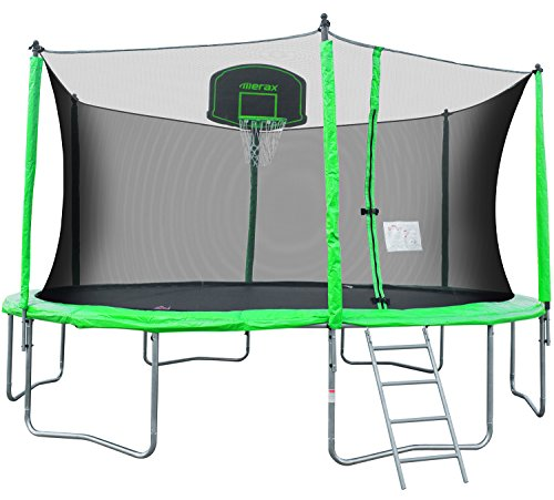 Merax 14-Feet Round Trampoline with Safety Enclosure, Basketball Hoop and Ladder (Bright Green)