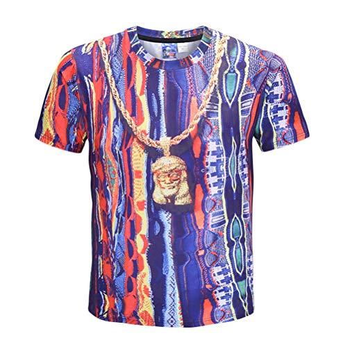 Fenical Camisetas de Verano de los Hombres Camisetas Impresas de la Raya 3D Nueva Camiseta de Las Europeas de la Moda Tamaño...