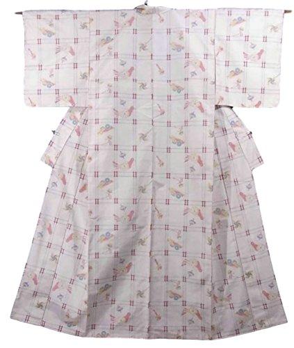 最初に不機嫌そうな逮捕リサイクル 着物 紬 緯絣 正絹 袷 格子文様と玩具の文様 裄62cm 身丈160cm