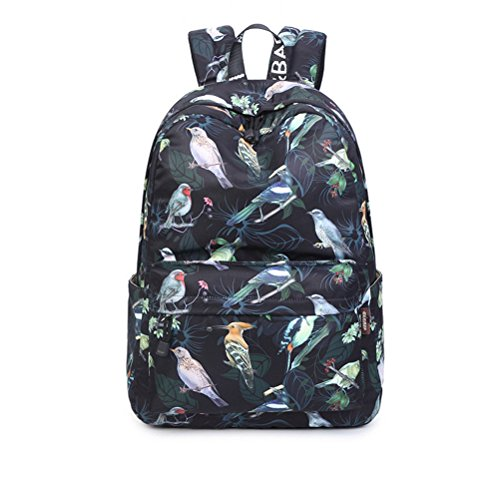Fashion 15.6 Inch Waterproof Fabric Women Backpack Cute Birds Pattern Printing Large Capacity Female Latop Bookbags Black 15 Inches by Winerbag