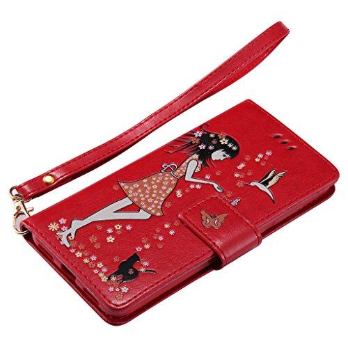 Étui Pochette Bling Caoutchouc Protecteur Lite 2017 Cover P8 Avec Huawei Magnétique Flip Pour Rouge pourpre Carte Coque Cuir Ougger Silicone Fente Etui Pu Housse dxTZda