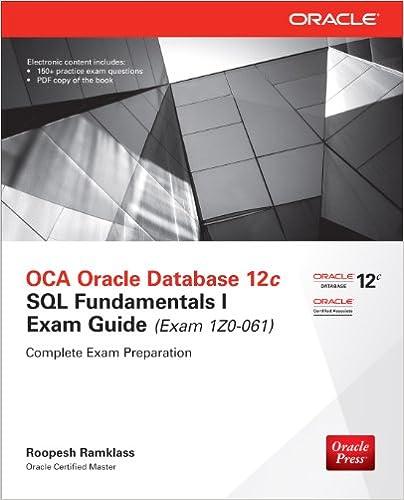 Amazon OCA Oracle Database 12c SQL Fundamentals I Exam Guide 1Z0 061 Press EBook Roopesh Ramklass Kindle Store