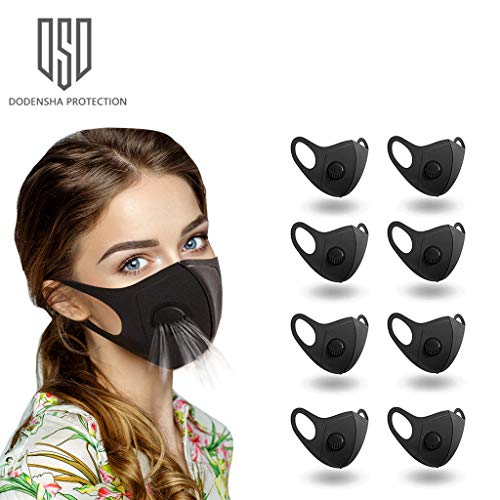 8 pcs Face Mask, Anti Particle Dust-Proof Anti-Pollution Face Mask with Breathing Valve, Skin-Friendly Unisex Face Masks, Reusable and Washable Masks for Outdoor Activities (Black)