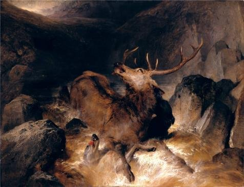 (The high quality polyster Canvas of oil painting 'Sir Edwin Henry Landseer - Deer and Deer Hounds in a Mountain Torrent,1832' ,size: 12x16 inch / 30x40 cm ,this High Resolution Art Decorative Prints on Canvas is fit for Game Room artwork and Home decoration and Gifts)