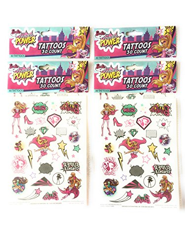 AHA Temporary Tattoos 120 pcs Barbie in Princess Power Teens Kids Birthday Party Favor 4 sheets sold by AHA WINWIN LLC -