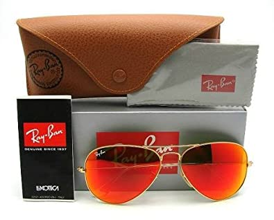 red ray ban aviators  Amazon.com: Ray Ban Aviator Orange Mirror Gold Frame RB3025 112-69 ...