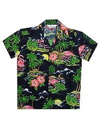 Alvish Hawaiian Shirts Boys Scenic Flamingo Beach Aloha Party Camp Holiday Casual
