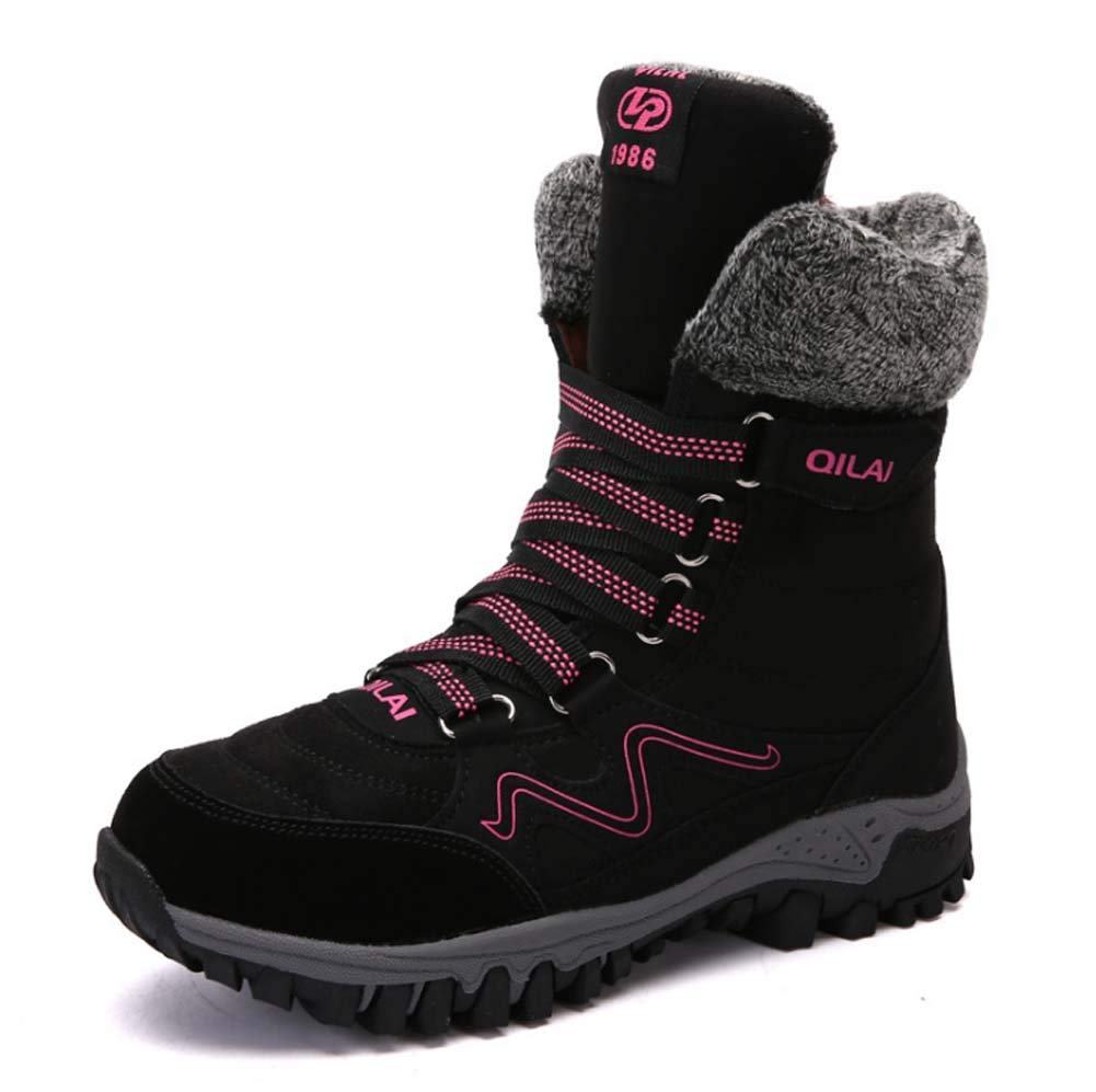 HYLFF Winter Stiefel Männer Frauen Schneeflocken Warme Ankle Stiefel Schuhe Damen Schuhe Fully Fur Lined Lining Outdoor Walking Wanderschuhe