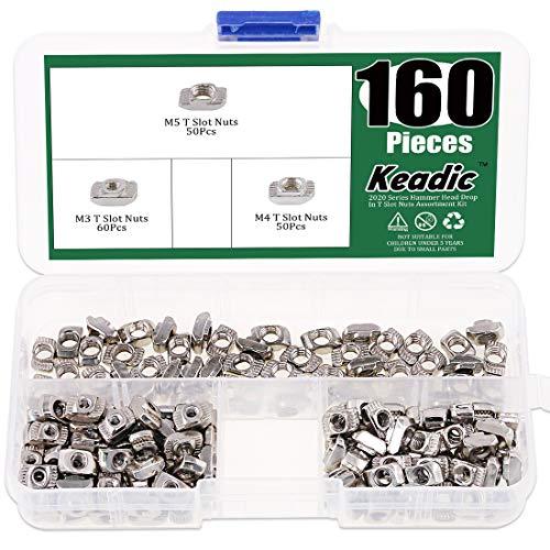 (Keadic 160Pcs 2020 Series T Nuts, M3 M4 M5 Hammer Head Fastener Drop in T Slot Nut Assortment Kit with Organizing Box for Aluminum Profile - Carbon Steel Nickel Plated)