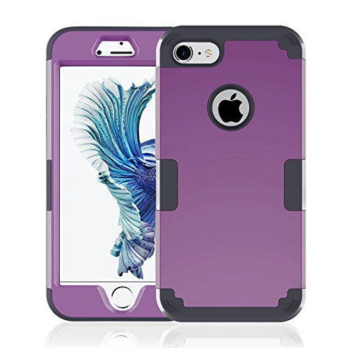 iPhone 7 Case, Speedup Hybrid Heavy Duty Shockproof Full-Body Protective Cover Case 3-Piece High Impact Hybrid Defender Case for Apple iPhone 7 (2016 Released) (Deep Purple + (Ninja Turtles Who Is Who)