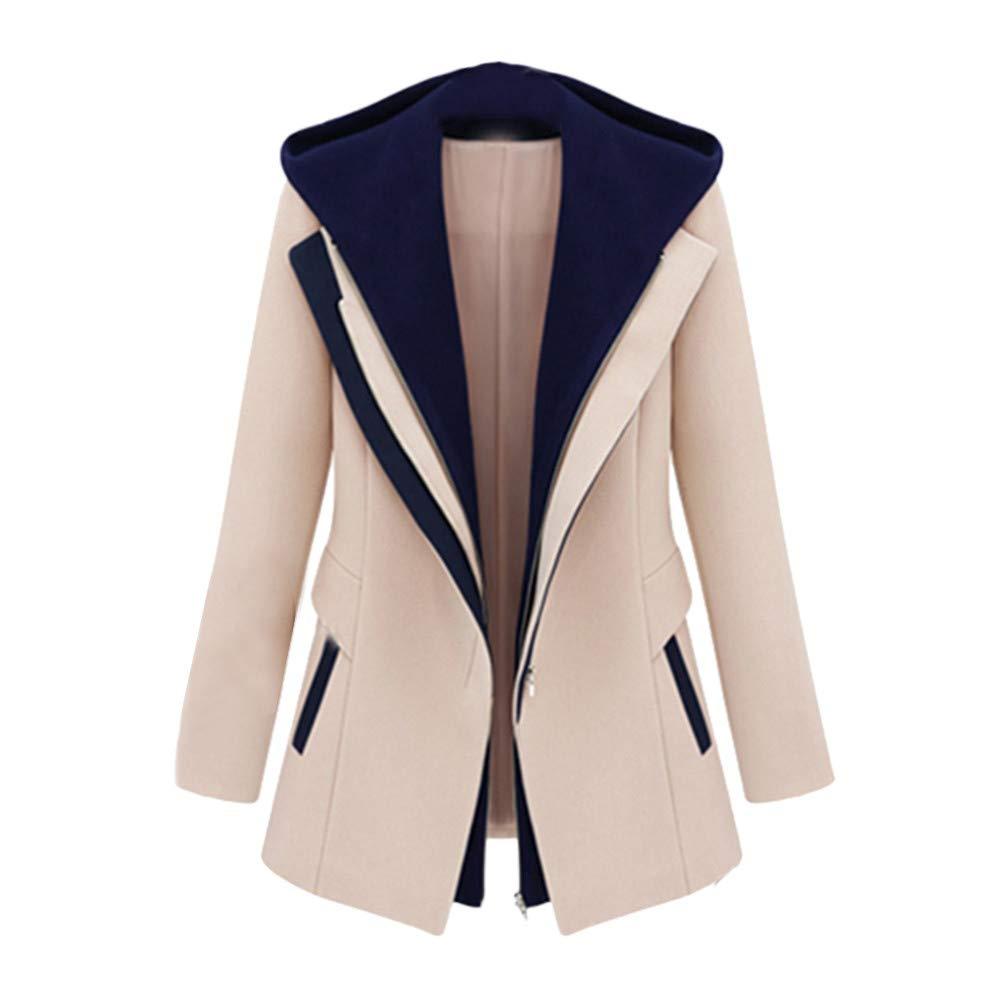 HOSOME Women Work Suit Jacket Office Removable Hooded Coat Jacket Long Sleeve Blazer Jacket Khaki