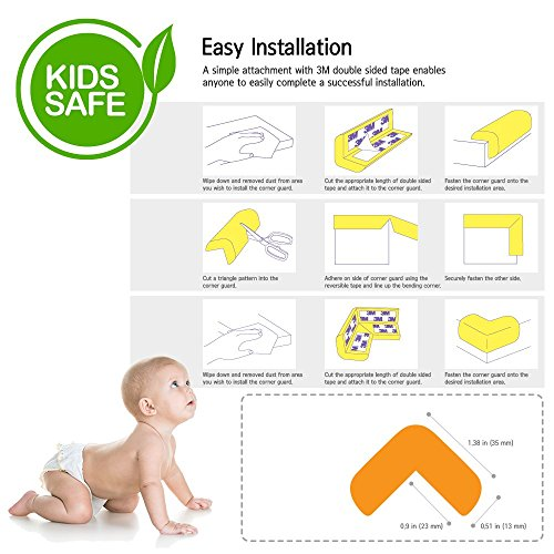 Baby Safety Edge Corner Guard, Eutuxia [15ft] Extra Thick, Extra Pure Premium Corner Edge Protectors (Includes 15ft corner guards + 33ft 3M tape + 4 corner guards + 4 bonus corner protectors) by Eutuxia (Image #6)