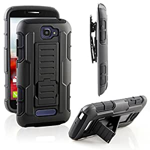 Alcatel One Touch Fierce 2 Case, RANZ Black Rugged Impact Armor Hybrid Kickstand Cover with Belt Clip Holster Case For Alcatel One Touch Fierce 2 / Alcatel 7040T (T-Mobile/MetroPCS) / POP ICON A564C (Straight Talk/TracFone)