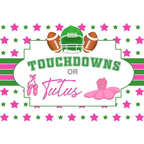 (Baocicco 5x3ft Touchdowns or Tutus Gender Reveal Backdrop Baby Shower Backdrop Pink and Green Star Decor Banners Skirt Rugby Photography Background Baby Shower Photo Backdrop Baby Newborn Portrait)