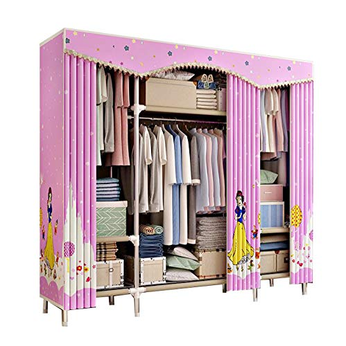 Armoire Cotton (HMEIGUI Clothes Closet Portable Armoire Wardrobe - Nylon Polyester Cotton Cloth Closet Organization Systems, Steel Tube Quick and Easy to Assemble,Pink_66x67inch)