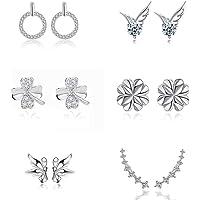 Yolistar 6 Pares Pendientes Mujer Plata de Ley S925, 7 Cristales Ear Cuffs Hoop, Mariposas Pendientes, Pendientes de Aro…