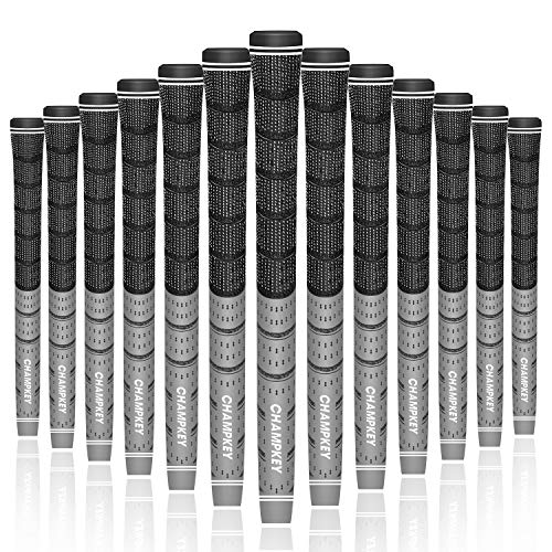 Champkey Multi Compound Golf Grips Set of 13(Free 15 Tapes Included),Anti-Slip,Ecological Cotton Yarn Thread Technology,Soft Material,Super Stability (Grey, Midsize)