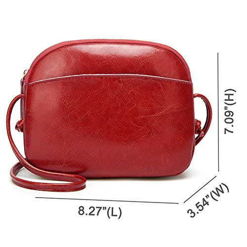 for Shoulder Women Small Red with Crossbody Leather Vintage Pad Bag Saddle Bag qSqtRzawx