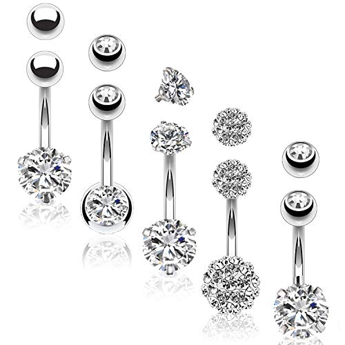 BodyJ4You 5PC Belly Button Rings 14G Stainless Steel CZ Women Navel Body Piercing Jewelry Set