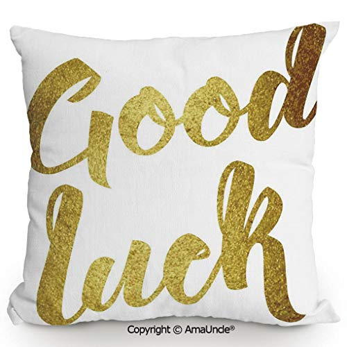 - AmaUncle Decorative Square Throw Pillow Case with Cotton and Linen,Good Luck Wish Note Hand Written Lettering Greeting Card Concept,W16xL16 Inches,Modern Design with 3D Printed Soft and Durable