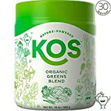 KOS Organic Greens Blend - 30 Servings - Amazing Tasting Super Greens Powder Organic Wheatgrass Oat Grass Spirulina Chlorella Prebiotics - Super Food Veggie Powder - 285g (Fresh Cut Apple Flavor)