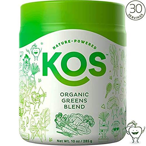 KOS Organic Greens Blend | 30 Servings | Amazing Tasting Super Greens Powder Organic Wheatgrass Oat Grass Spirulina Chlorella Prebiotics | Super Food Veggie Powder | 285g (Fresh Cut Apple Flavor) (Best Green Drink Supplement)