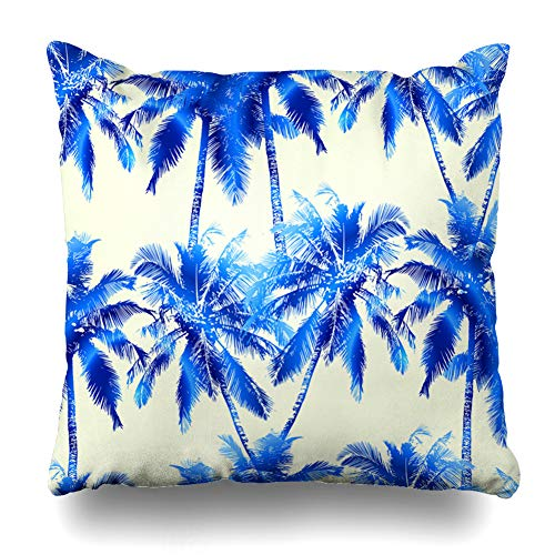 Ahawoso Throw Pillow Cover Square 18x18 Inches Plant Green Tree Tropical Pattern Blue Coconut Palm Floral Nature Watercolor Aquarelle Botany Branch Cushion Case Home Decor Pillowcase