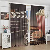 smallbeefly Movie Theater Widened Blackout Window Curtain Old Fashion Entertainment Objects Related to Cinema Film Reel Motion Picture Waterproof Window Curtain 120''x72'' Multicolor