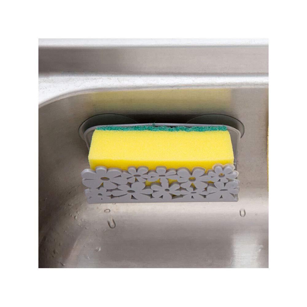 Elevin(TM)  Dish Cloths Rack Suction Sponge Holder Clip Rag Storage Rack (Gray)