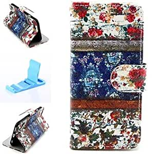 FJM Retro Blossoms Pattern PU Leather Full Body Cover with Stand for iPhone 6