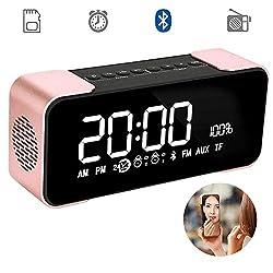 Large Screen Digital Radio Alarm Clock Bluetooth Wireless Speaker LED Display / Dual Speakers / TF Card, Loudspeakers Super Bass for Android / iPad / iPhone Bluetooth 4.2 Hi-Fi Speaker