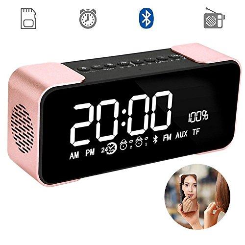 Rose Display Clock - Large Screen Digital Radio Alarm Clock Bluetooth Wireless Speaker LED Display / Dual Speakers / TF Card, Loudspeakers Super Bass for Android / iPad / iPhone Bluetooth 4.2 Hi-Fi Speaker