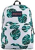 JanSport SuperBreak Backpack, White Monstera Leaves