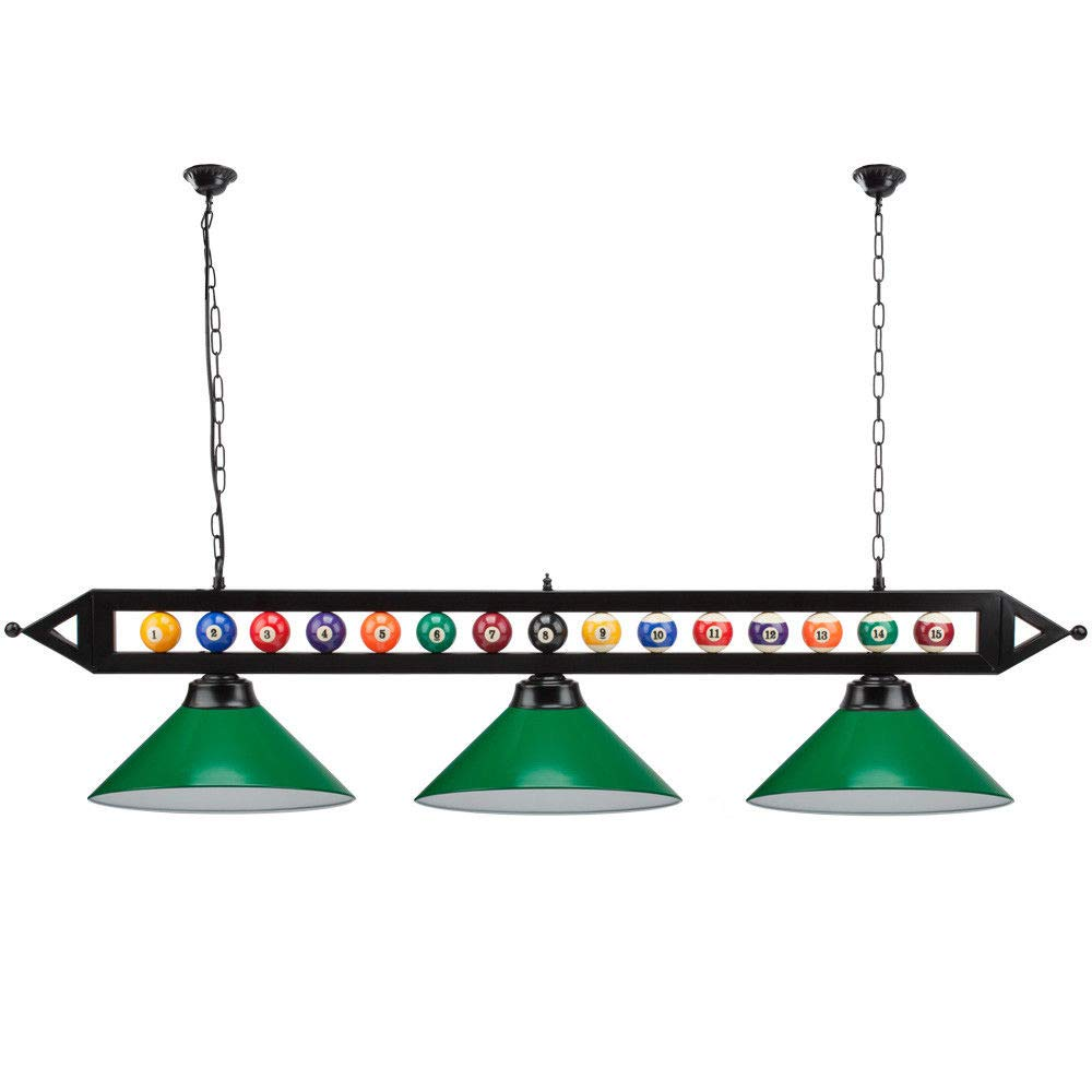 59'' Hanging Billiard Light for 7ft/8ft/9ft Pool Tables - (Several Colors Lamp Shades Available) (Green Lamp Shades)